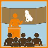 Lehrer unterrichtet in Hundethemen Grafik