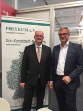 Am Polykum-Stand traf Exipnos-Geschäftsführer Peter Putsch Sachsen-Anhalts Wirtschaftsminister Jörg Felgner. Foto: Exipnos.