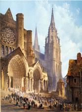 """""""Sortie de procession"""" Huile sur toile de DOLBY, XIXe siècle."""