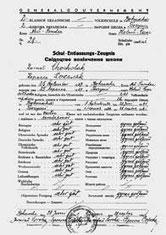 dwujęzyczne świadectwo ukończenia szkoły w Boguszy - po ukraińsku i niemiecku