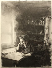 """Selbstbildnis"", Kohle auf Papier, 36 x 48 cm, 2019"