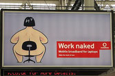 Vodafone Advertisement for Mobile Broadband For Laptops using nudity as an eye-catcher.