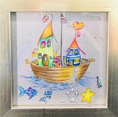 Hausboot, bunt, gerahmt, Aquarell, handgemalt von Künstlerin JULIA! Neulinger -Kahl