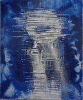 """René Duvillie  """"Huile sur toile bleue"""" 1996 Acryl /Leinwand  22x27cm"""
