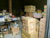 平成の森の支援物資置き場