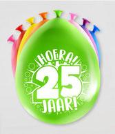 Ballonnen Hoera! 25 jaar! 8 stuks € 2,25