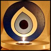 Houten Sfeerlicht Oog uniek, theelichthouder speciaal, bijzondere sfeerlichten, uitgevallen theelichthouders