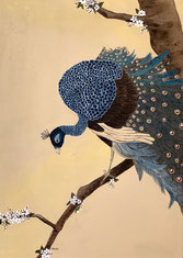 """Peacock on plum tree"" 70 x 50 cm"