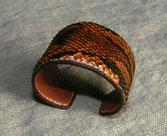 manchette, bracelet, cuir, lézard, large