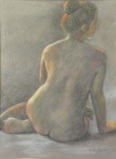 裸婦(第1回高安悠画会同出品) パステル55X75