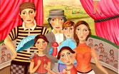 LES ARTISTES DE CIRQUE tableau art naif sur le theme du cirque, peinture à l'huile sur toile de lin format 50F, 6 personnages representant au centre de la scène des artistes du cirque et une funambule, un village à l'horizon, signe Christine Fraga Frenot