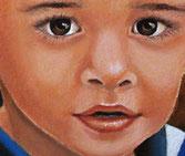 PORTRAIT ENFANT, portrait de jeune garçon, Peinture à l'huile à la brosse et couteau, portrait d'après photo, signature Christine Fraga Frenot