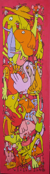 """Freudenfeuervögel""  Acryl auf Leinwand  30/100 cm November 2009"