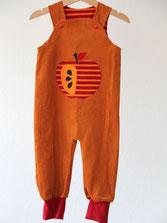 Lumpenprinzessin Strampelhose Cord Apfel orange nach Klimperklein Handarbeit/Genähtes, hergestellt in Deutschland