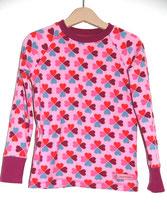 Lumpenprinzessin Langarm-Shirt Glücksklee Hamburger Liebe Genähtes Kindershirt Retro Rosa Handarbeit Nähen