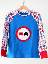 Lumpenprinzessin  T-Shirt Langarmshirt für Jungs mit Verkehrschildern Genähtes Kindershirt Retro Handarbeit Nähen