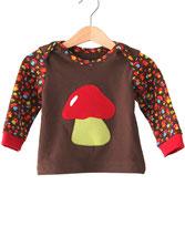 Lumpenprinzessin Pilze T-Shirt Babyshirt Langarmshirt nach dem Schnitt von Klimperklein www.klimperklein.de Genähtes Kindershirt Retro braune Pilze Handarbeit Nähen