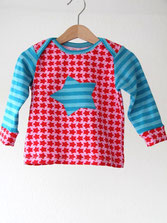 Lumpenprinzessin Babyshirt Stars rosa/türkis Langarm Handarbeit Genähtes