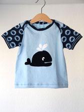 Lumpenprinzessin Babyshirt Kurzarm Wal blau/weiß Handarbeit Genähtes