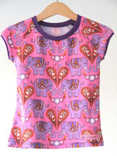 Lumpenprinzessin T-Shirt Elephants Love Hamburger Liebe Genähtes Kindershirt Retro rosa lila Handarbeit Nähen