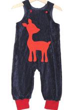 Lumpenprinzessin Strampelhose dunkelblau mit Reh Applikation rot orange Handarbeit Nähen. Genähtes, hergestellt in Deutschland