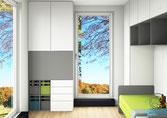 fotorealistische 3D-CAD-Entwurfsplanung kleines Kinderzimmer von Schreinerei Holzdesign Ralf Rapp, Kinderzimmereinrichtung nach Maß vom Schreiner mit Schreibtischschrank und Stauraum im Kinderzimmer nach Maß