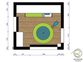 CAD-Grundrissplanung kleines Kinderzimmer von Schreinerei Holzdesign Ralf rapp in Geisingen,  Kinderzimmereinrichtung mit Schreibtischschrank, raumhohen Bücherregal & Kinderzimmerschrank nach Maß