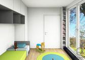 fotorealistische 3D-CAD-Entwurfsplanung kleines Kinderzimmer von Schreinerei Holzdesign Ralf Rapp, Kinderzimmereinrichtung nach Maß vom Schreiner mit Schreibtischschrank und raumhohen Bücherregal im Kinderzimmer nach Maß