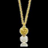 Collier und Anhänger in Gelbgold mit einer Perle aus der Milchstrasse Kollektion der Goldschmiede OBSESSION