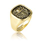 Wappenring in Gelbgold angefertigt auf Kundenwunsch von der Goldschmiede OBSESSION