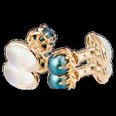 Anfertigung auf Kundenwunsch in Rotgold mit Mondstein und Tahiti-Perlen.