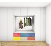Garderobenschrank Entwurf - bunte Fronten