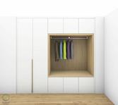 Garderobenschrank Entwurf - Massivholz-Griff senkrecht