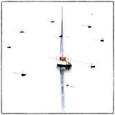 bateau au mouillage entouré de bouée, avec un reflet puissant