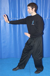 Stuart Ford standing in Santishi Posture, the main guard stance in Xingyiquan and some other Internal Martial Arts