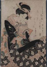 Kikugawa Eizan, Mère et son enfant, Japon, 19e siècle, estampe, legs Layrle, collection musée des beaux-arts de Brest métropole.