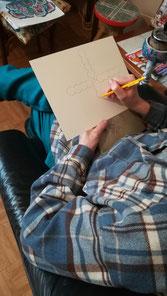 Art singulier, art brut, dessin, artiste cantalien,