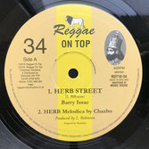 "BARRY ISSAC, CHAZBO  Herb Street / Horns  Label: Reggae On Top (10"")"