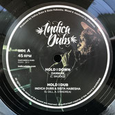 "DANMAN, TIBERIAS TOWA  Hold I Down / Faithful Dub  Label: Indica Dubs (10"")"