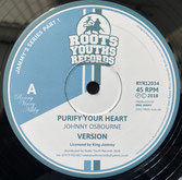 """JOHNNY OSBOURNE, LACKSLEY CASTELL  PURIFY YOUR HEART / PRINCESS LADY  Label: Roots Youths (12"""")"""
