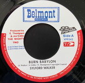 "SYLFORD WALKER  Burn Babylon / Version  Label: Belmont (7"")"