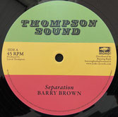 """BARRY BROWN, SCIENTIST  Seperation / In Fine Style  Label: Thompson Sound (12"""")"""