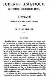 Couverture. Charles de HARLEZ (1832-1899) : KOUE-YÜ, Discours des royaumes, Journal asiatique 1893-1894.