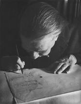 Borges nei primi anni '60, alle prese con la cecità