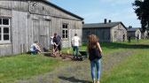 Schülerinnen und Schüler der Oste-Hamme-Schule Gnarrenburg beim freilegen historischer Barackeneingänge. Foto: A. Ehresmann, 13.8.2015