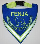 Ausgebildeter Schulhund mit Name, Klickverschluß, Hundehalstuch