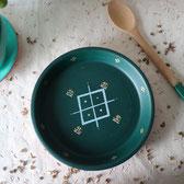 vide poche-terre cuite-artisanal-vert foncé-motifs berberes-doré