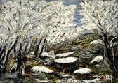"""""""Forêt du Huelgoat sous un blanc manteau, Finistère"""" RLM 2013 n°42. 46x33. Disponible 150€"""