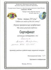 Сертификат члена жюри окружной научно-практической конференции «Дети – творцы XXI века» (2014 г.)