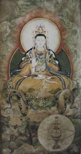 观世16 GODDESS OF MERCY 16  175X93CM 纸本水墨与植物色 INK & MINERAL COLOR ON PAPER 1995-1999 (收藏于台湾高雄 COLLECTED IN TAIWAN)